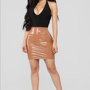 Vinyl Tan Mini Skirt